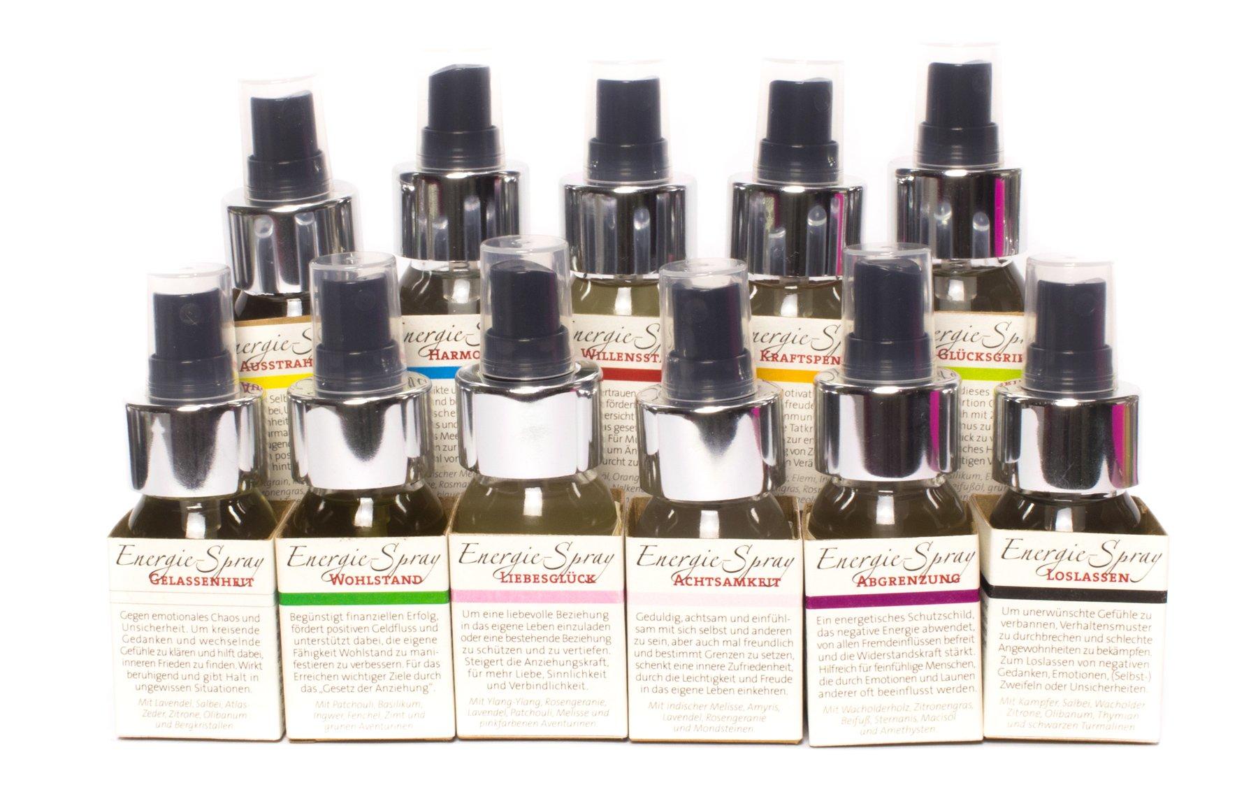 Energie-Sprays mit ätherischen Ölen und Steinen
