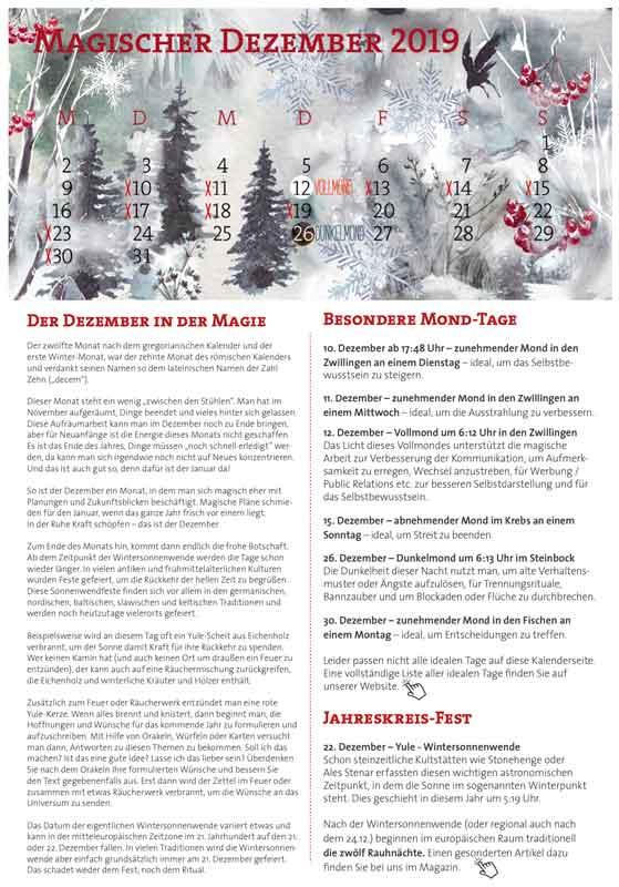Magischer Dezember Kalender-Vorschau