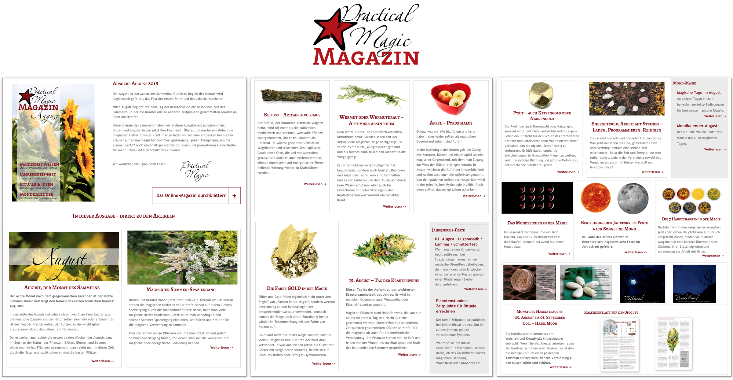 Inhaltsangabe Ausgabe August Practical Magic